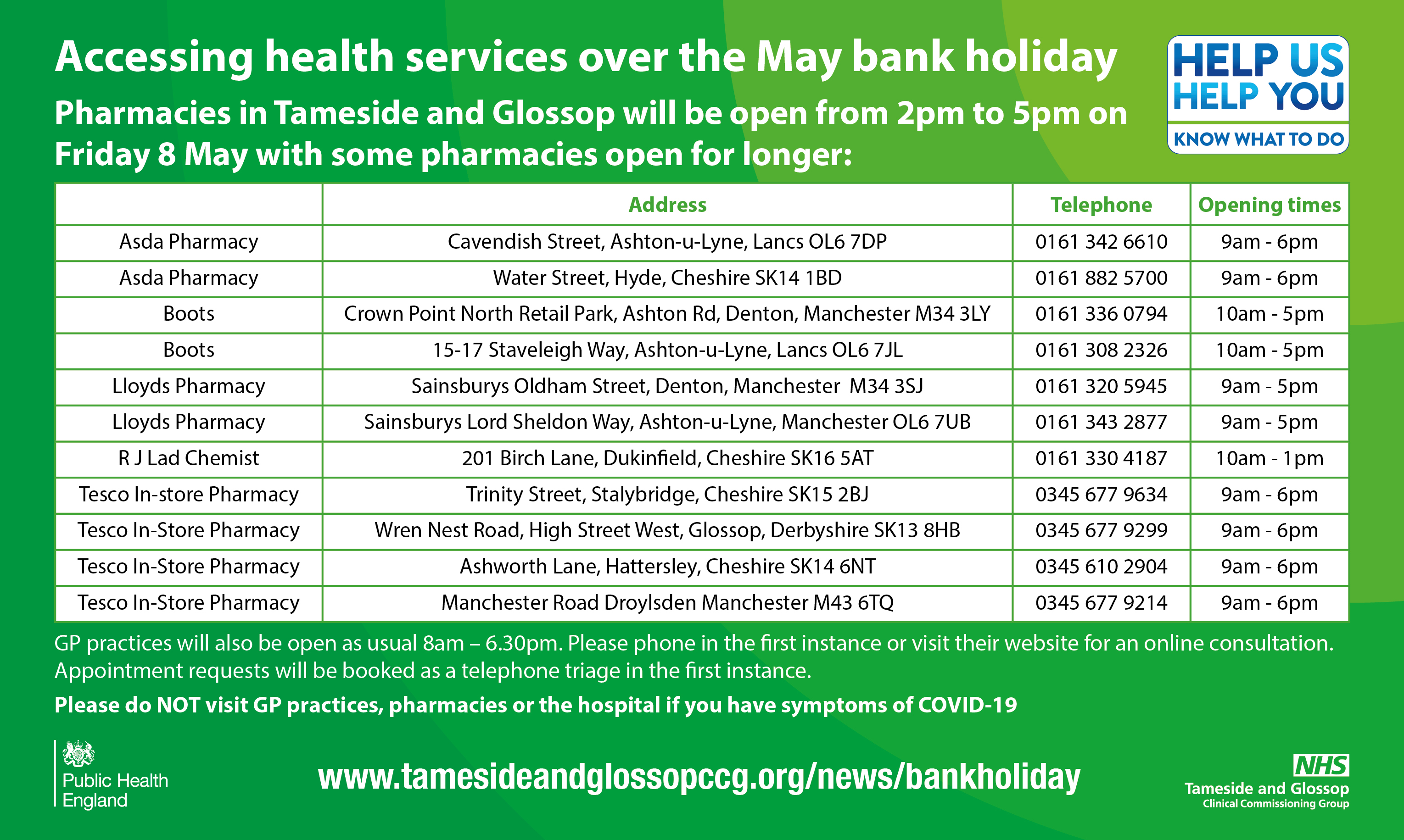 MAY BANK HOLIDAY PHARMACY OPENING HOURS